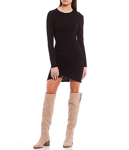 GB Long Sleeve Ruched Side Bodycon Dress