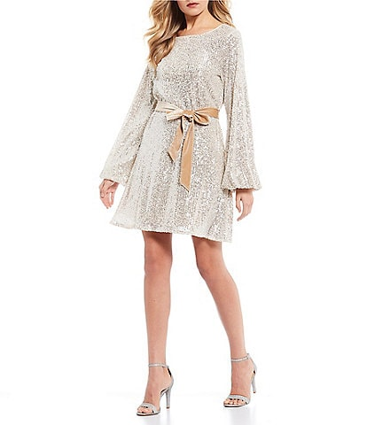 GB Long Sleeve Sequin Blouson Dress