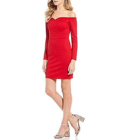 GB Long Sleeve Off-The-Shoulder Sweetheart Sheath Dress
