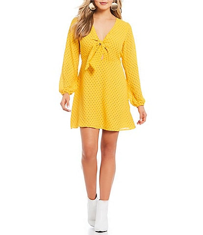 GB Long Bubble Sleeve V-Neck Tie-Front Dot Dress