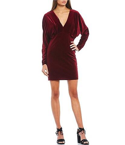 GB Long Sleeve V-Neck Velvet Dress