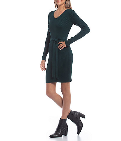 GB Long Sleeves Ribbed Knit Sweater Dress