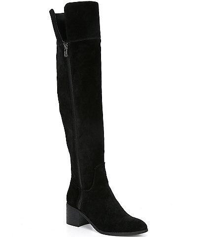 GB Look-Up Suede Over-the-Knee Block Heel Boots
