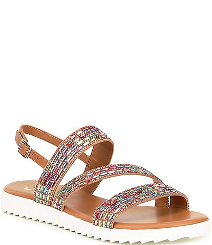 GB Lumi-Nous Rainbow Rhinestone Embellished Leather Flatform Sandals