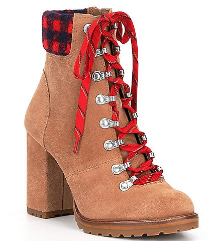 GB Mapped-Out Suede and Plaid Print Lace Up Lug Sole Combat Booties