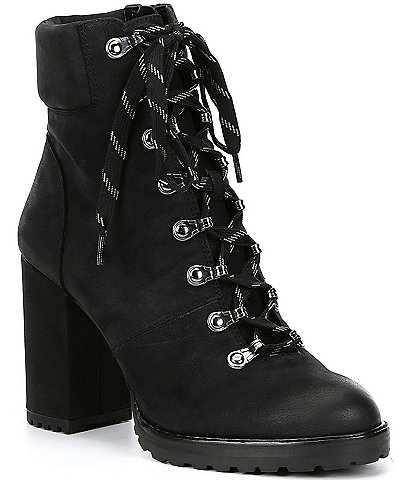 GB Mapped-Out Suede Lace Up Lug Sole Combat Booties