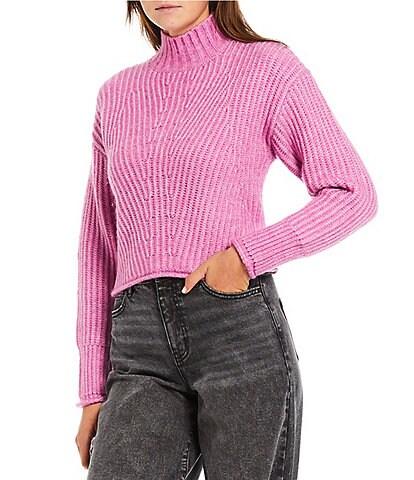 GB Mock Neck Cropped Knit Sweater