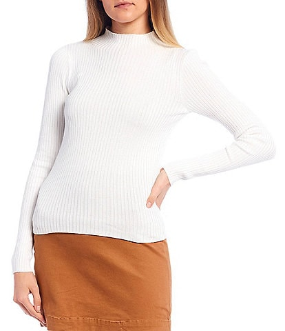 GB Mock Neck Ribbed Knit Sweater