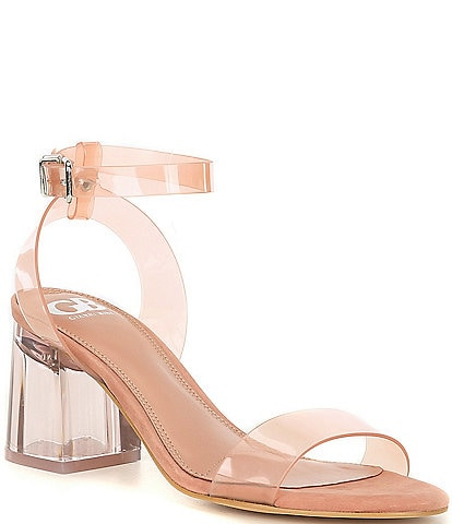 GB New-Skool Vinyl Two-Piece Ankle Strap Block Heel Dress Sandals