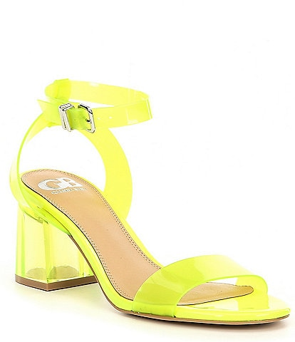 GB New-Skool Vinyl Two-Piece Block Heel Pumps