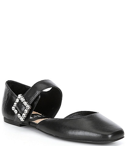 GB Night-Out Rhinestone Buckle Leather Flats