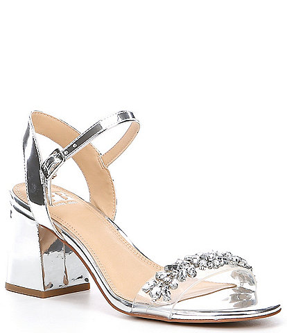 GB One-Dance Metallic Rhinestone Embellished Dress Sandals