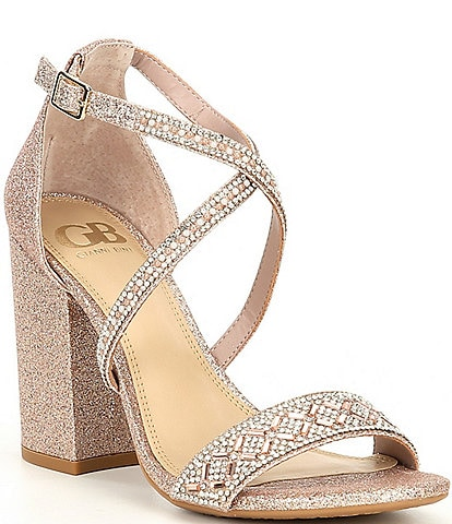 GB Out-Shine Glitter Rhinestone Embellished Strappy Block Heel Dress Sandals