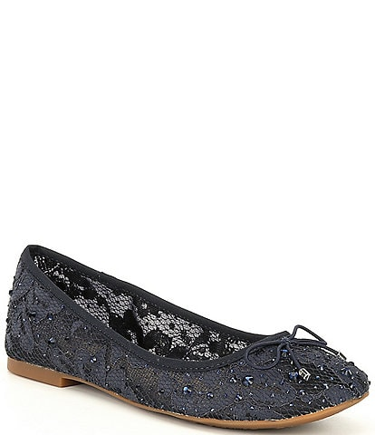 GB Per-Fection Lace Embellished Bow Ballet Flats