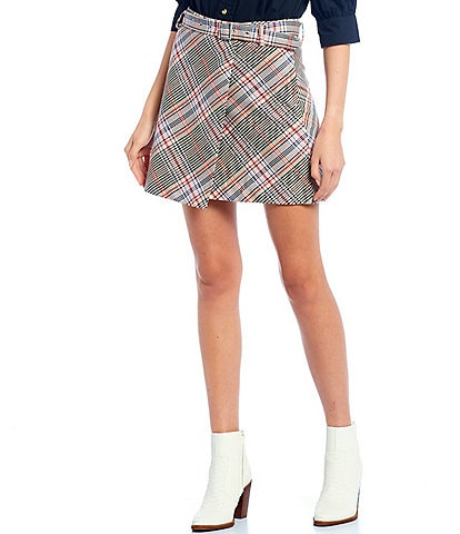 GB Plaid Belted Mini Skirt