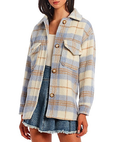 GB Plaid Button Front Stand Collar Shirt Jacket