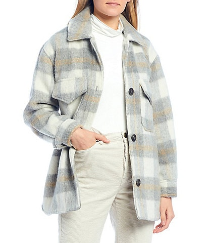 GB Plaid Button Front Topper Coat