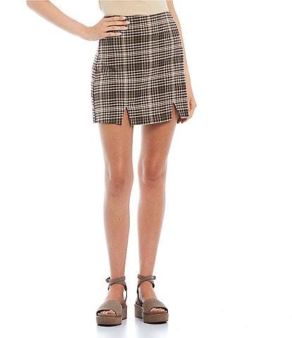 GB Plaid Front Slit Mini Skirt