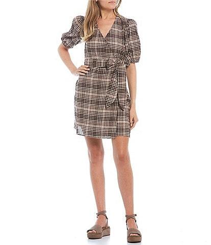 GB Plaid Puff Sleeve Wrap Dress