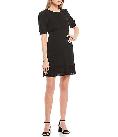 GB Pleated Bodice Puff Sleeve Dress