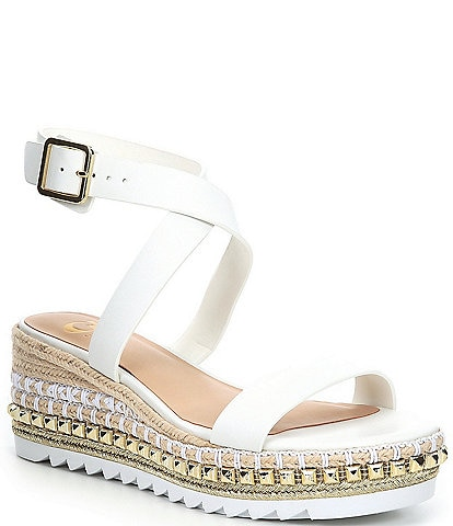GB Price-Less Studded Espadrille Wedge Sandals