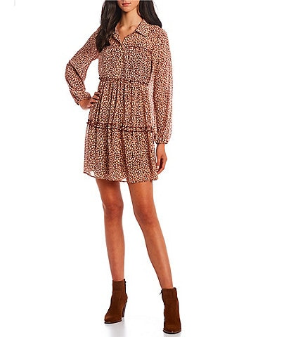 GB Printed Long Sleeve Button Front Tiered Dress