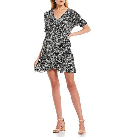 GB Printed Ruffle Faux-Wrap V-Neck Dress