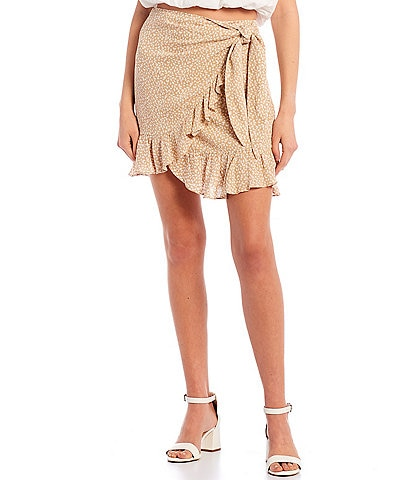 GB Printed Side Tie Flounce Hem Wrap Skirt
