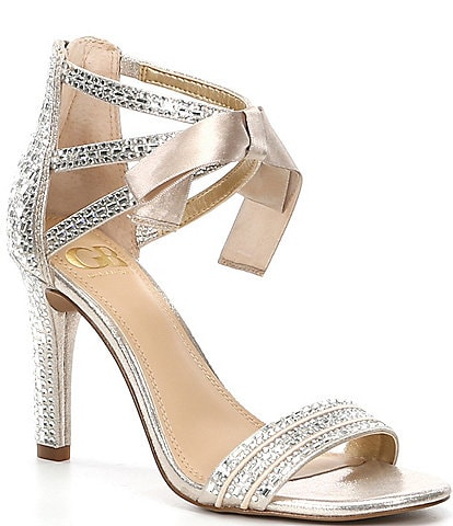 GB Prom-Queen Rhinestone Bow Stiletto Dress Sandals