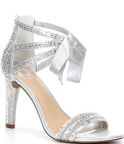 GB Prom-Queen Rhinestone Bow Stiletto Dress Sandals