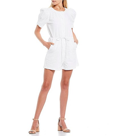 GB Puff Sleeve Button-Front Drawstring Waist Romper