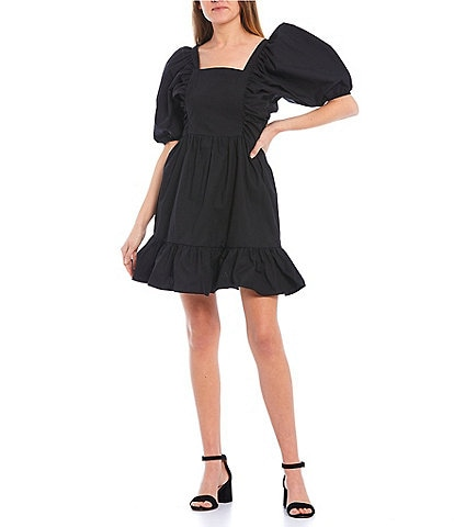 GB Puff Sleeve Poplin Dress