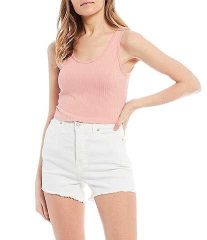 GB Ribbed Knit Cropped Tank Top