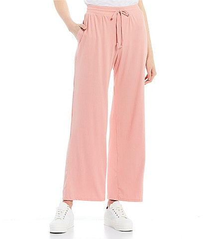 GB Ribbed Knit Mid Rise Wide Leg Pants