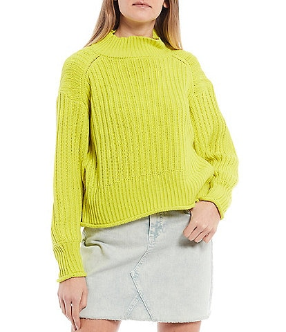 GB Ribbed Mock Neck Pullover Sweater