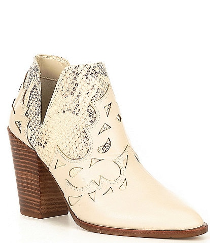 GB Risk-Taker Snake Print Leather Cut-Out Block Heel Western Ankle Booties