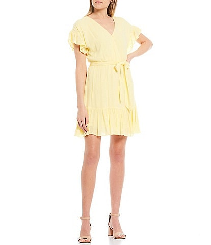GB Ruffle Sleeve Faux-Wrap Dress