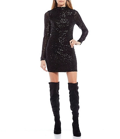 GB Sequin Long Sleeve Mock Neck Dress