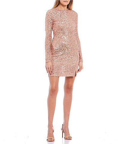 GB Sequin Slim Long Sleeve Sheath Mini Dress