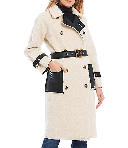 GB Faux Shearling & Faux Leather Notch Collar Buckle Belted Reversible Coat