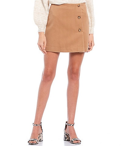 GB Side Button Mini A-Line Skirt