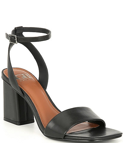 GB Side-Eye Ankle Strap Block Heel Square Toe Leather Sandals