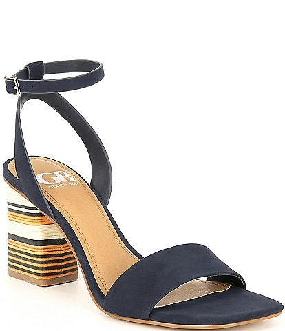 GB Side-Eye Ankle Strap Striped Block Heel Square Toe Sandals