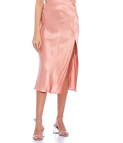 GB Coordinating Side Slit Satin Midi Skirt