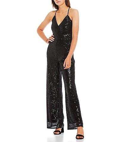 GB Sleeveless V-Neck Lace-Up-Back Sequin-Embellished Mesh Jumpsuit