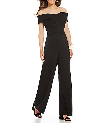 GB Smocked Sweetheart Neck Off-the-Shoulder Wide Leg Jumpsuit