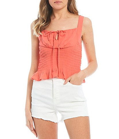 GB Smocked Tie Front Tank Top