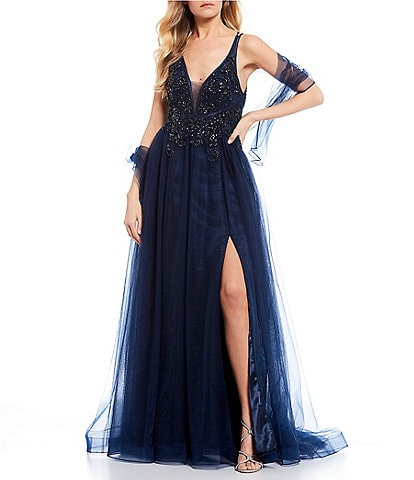 GB Social Applique Bodice High Side Slit Ball Gown