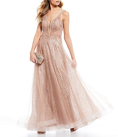 GB Social Beaded Bodice V-Neck Ball Gown
