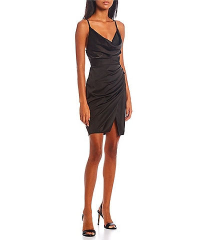 GB Social Smooth Satin Cowl Neck Mini Dress
